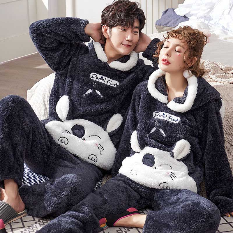 Winter Velvet Unisex Adult Couple Pajamas Set Men Sleepwear Warm Flannel Pajamas Set Animal Cartoon Cute Home Clothes Homewear