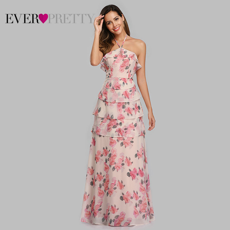Robe Demoiselle D'honneur Ever Pretty EP07239 Elegant A Line V Neck Foral Print Bridsmaid Dresses Long Wedding Party Gown 2018