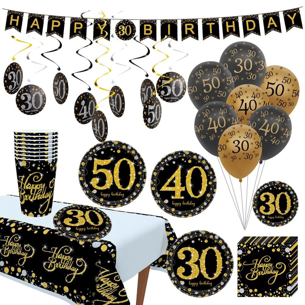 Wayfun черного и золотого цвета на день рождения воздушные шары для взрослых Количество воздушных шаров с 30 40 50 дней рождения Юбилей вечерние Д...