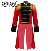 Disfraz de maestro de ceremonias de circo para niños, flecos, adornos dorados, chaqueta FRAC para Halloween, Cosplay, Carnaval