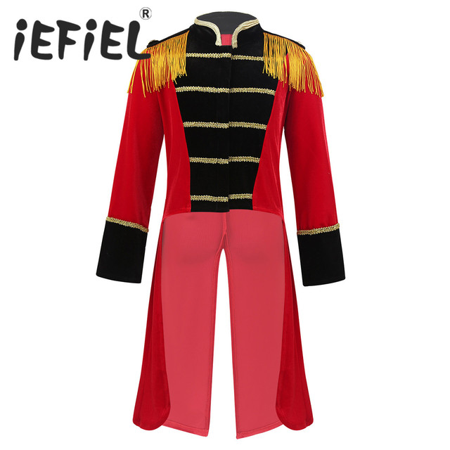 Kids Boys Children Circus Ringmaster Costume Fringes Gold Trimmings Tailcoat Jacket for Halloween Cosplay Carnival Clothes