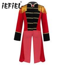 Kinder Jungen Kinder Circus Ringmaster Kostüm Fransen Gold Garnituren Frack Jacke für Halloween Cosplay Karneval Kleidung