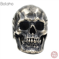 925 Silver colour Skull Ring New Fashion Skeleton S925 Sterling Thai Silver colour Rings for Men women Jewelry Biker Punk Ring