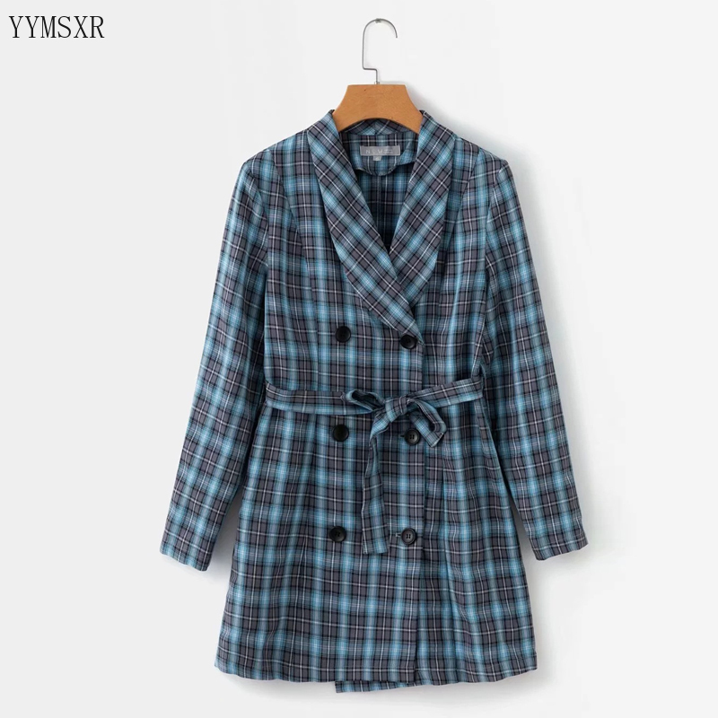 Women's Mid-length Plaid Blazer Jacket Feminine Fall Fashion Slim Double-Breasted Women's Jacket Coat 2020 New Women's Clothing