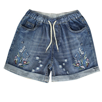 Womens High Waist Denim Shorts 2020 Spring Summer Ripped Female Plus Size Vintage Floral Embroidery Jeans Short Feminino