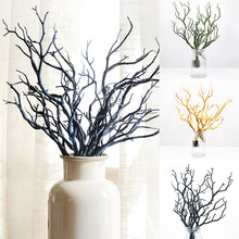 Branche artificielle en plastique, 1 pièce, faux feuillage plante branche d'arbre, bricolage bandeau en bois, décoration de fête de mariage, Branches de fleurs de corail