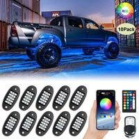 Kit de iluminación de neón para coche, set de luces LED RGB de 10 Pods con música y Bluetooth