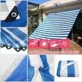100GSM HDPE квадратный солнцезащитный козырек парус в синюю и белую полоску зонтик сетка для дома и сада солнцезащитный крем водонепроницаемый ...