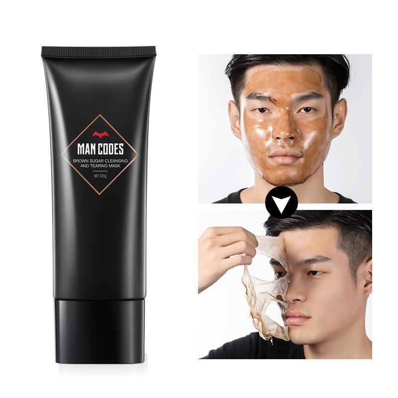 MANCODES 100g Men Brown Sugar Blackhead Remover Peel Mask Acne Treatment Peel Off Mask Firming Anti Aging Pore Strip Skin Care