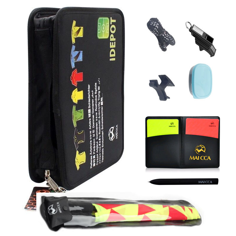 MAICCA Soccer Referee Bag Professional Football Referee Flag Toolkit Sports Wallet Cards Whistle Equipment