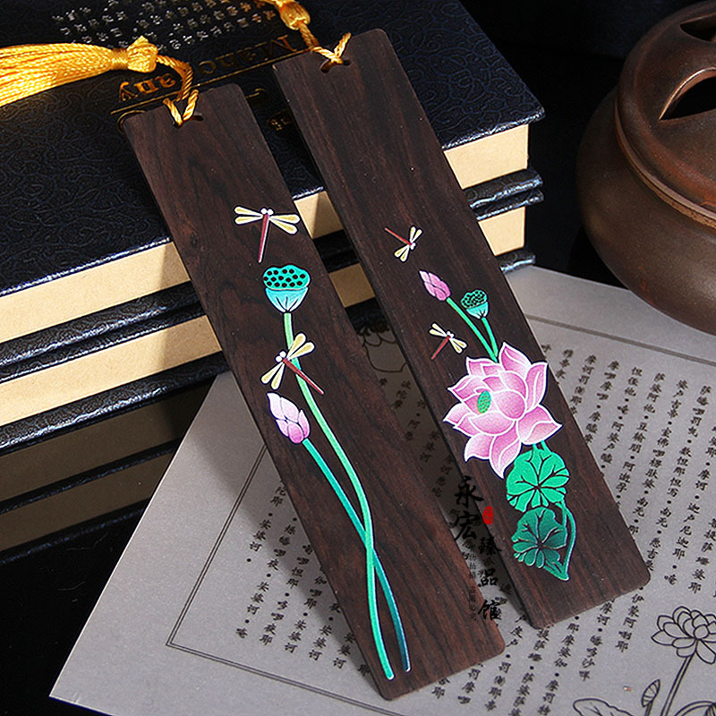 Retro Chinese Style Lotus Dragonfly Bookmark Pendant Wooden Book Mark Stationery School Office Supply Escolar Papelaria