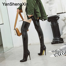 YANSHENGXIN Woman Boots Super Soft Stretch Leg Circumference Customized Patent Leather Boots High Heels 11.5CM Women Pump Shoes(China)