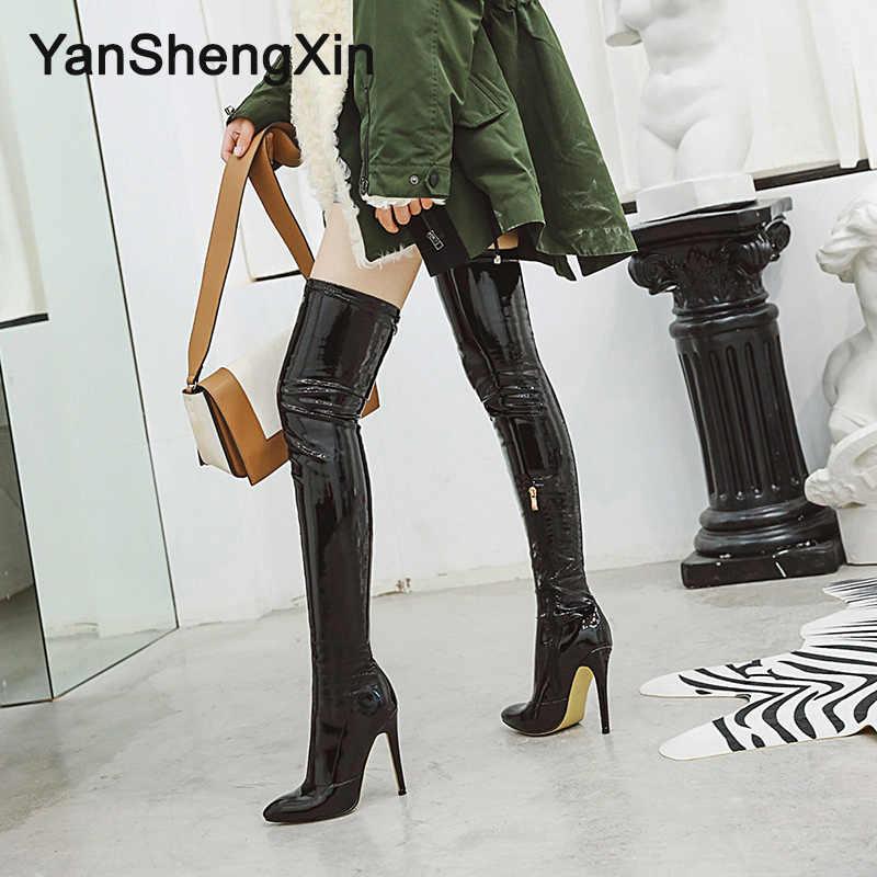 YANSHENGXIN kadın botları süper yumuşak streç bacak çevre özelleştirilmiş Patent deri çizmeler yüksek topuklu 11.5CM kadın pompa ayakkabı