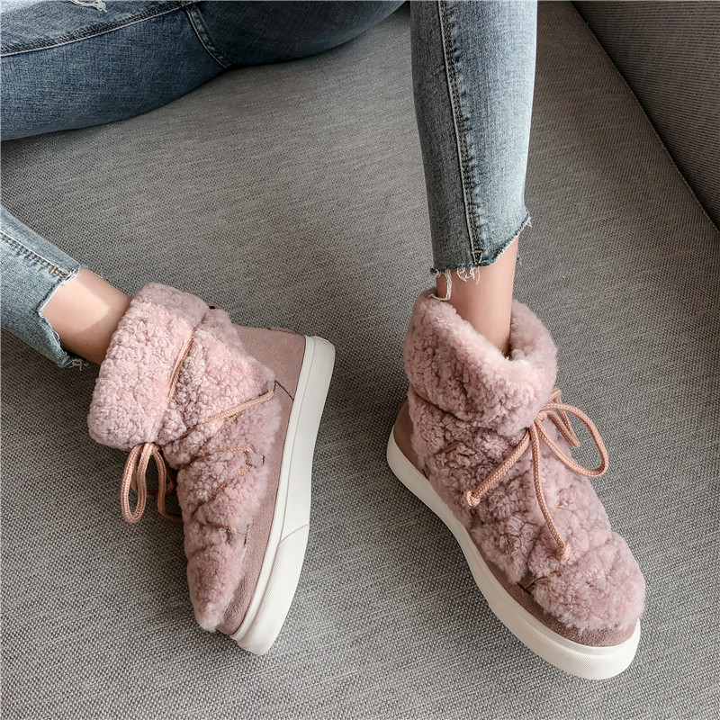 Sweet Women Wool Cow Suede Ankle Boots Female Big Size Snow Boots Dancing Casual Shoes Woman Newest Flats Platform Boots 35