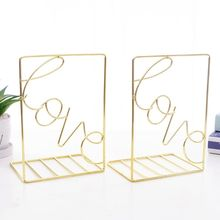 1 Pair Creative Love Shaped Metal Bookends Desk Book Storage Holder Shelf Organizer Stand for Office Student