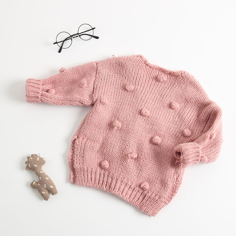 Image 5 - New Baby Hand made Bubble Ball Sweater Knitted Cardigan Jacket Baby Sweater Coat Girls Cardigan Girls Autumn Winter Sweaters-in Sweaters from Mother & Kids