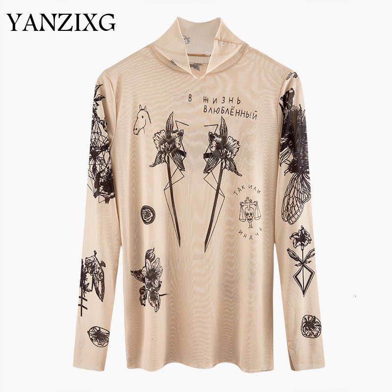 2019 Autumn New Fashion Women Basal Top Goddess Tatoo Print Long Sleeve High Tight Collar Nude Color Mesh Yarn T-shirt  F218