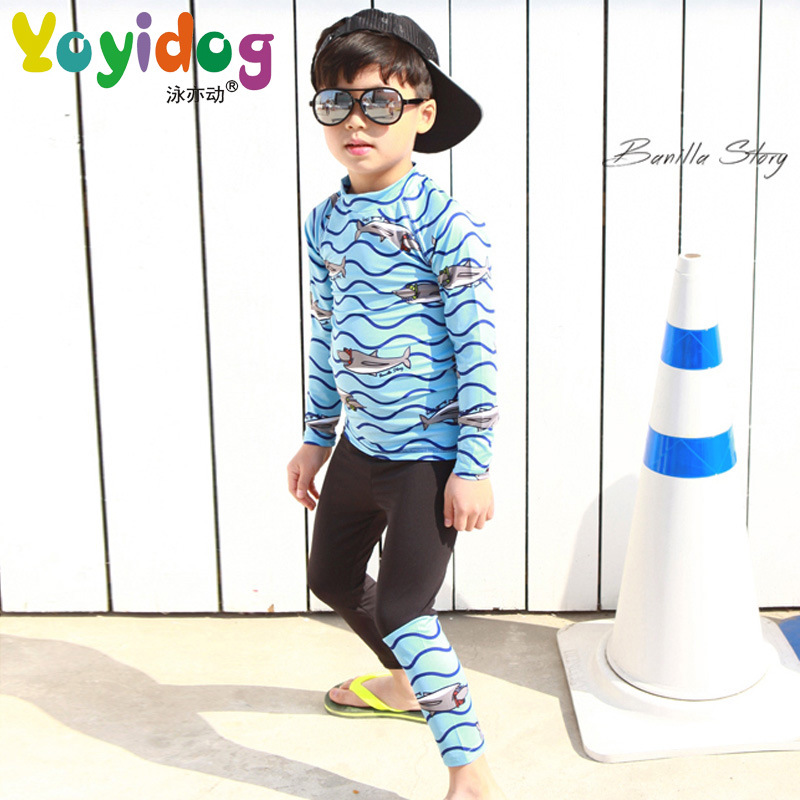 2018 New Style KID'S Swimwear BOY'S Children 2-9-Year-Old Long Sleeve Trousers Sun-resistant Warm Waterproof Mother Split Type S