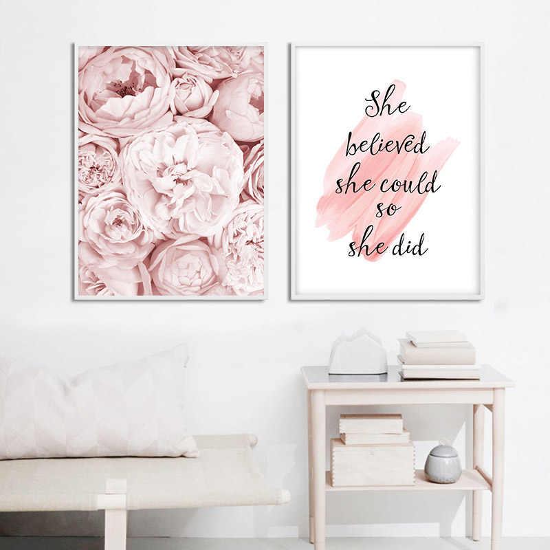 핑크 모란 꽃 포스터 노르딕 스타일 패션 따옴표 벽 아트 인쇄 캔버스 회화 현대 그림 소녀 방 홈 인테리어
