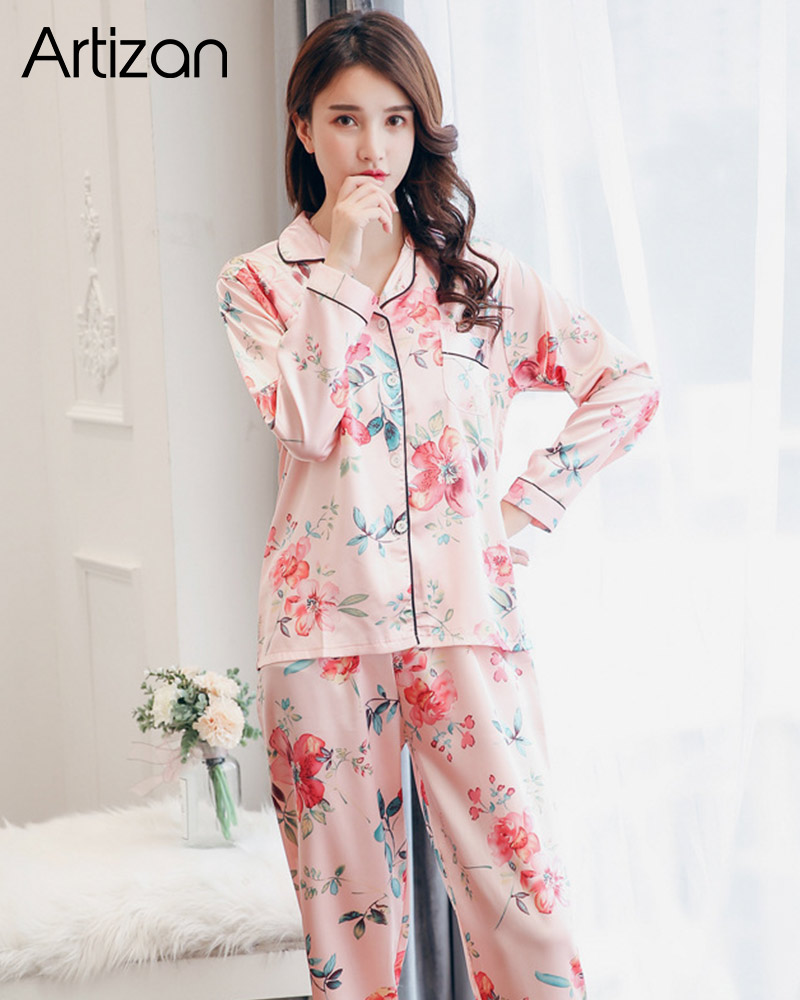 H867c3d9841b546faa9ac0279b0e09e7cl - Satin Silk Pajamas for Women's Set pyjamas Button Pigiama Donna pjs Winter Mujer Pijama Sleepwear Nightwear Pizama Damska 2Pcs