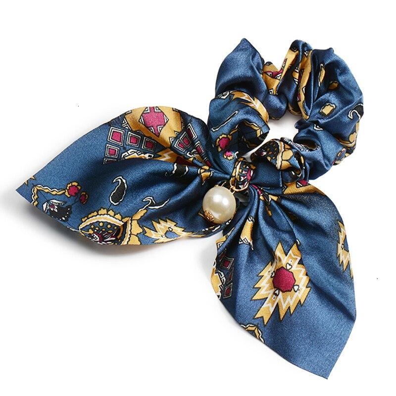 Mousseline de soie Cheveux Chouchous Femmes Mode Perle élastique pour queue de cheval Cheveux Cravate Cheveux Corde Élastiques Cheveux Accessoires couvre-chef en noeud 7