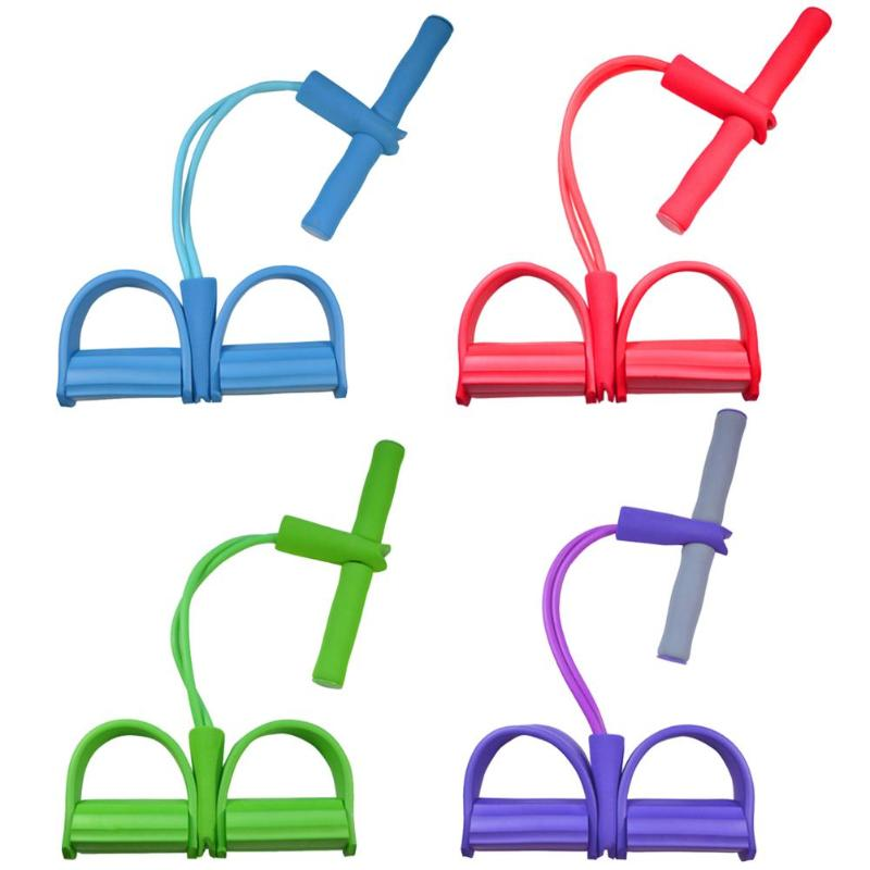 Durable Foot Pedal Pull Rope Delicate Design 2 Tube Resistance Band Pedal Exerciser Sit-up Pull Rope Yoga Pilates Equipment