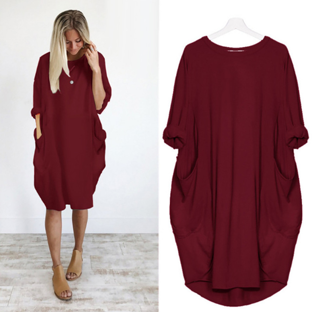 Casual Loose Dress With Pocket Women's Spring Summer Fashion Solid Color O-Neck Long Sleeve White Dresses Big Size S-5XL 6