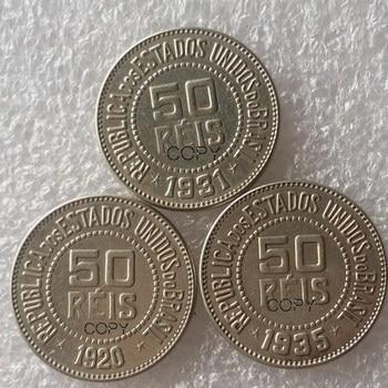 Brasil 50 REIS un juego de (1920 1931 1935) 3 uds cobre y níquel copia moneda