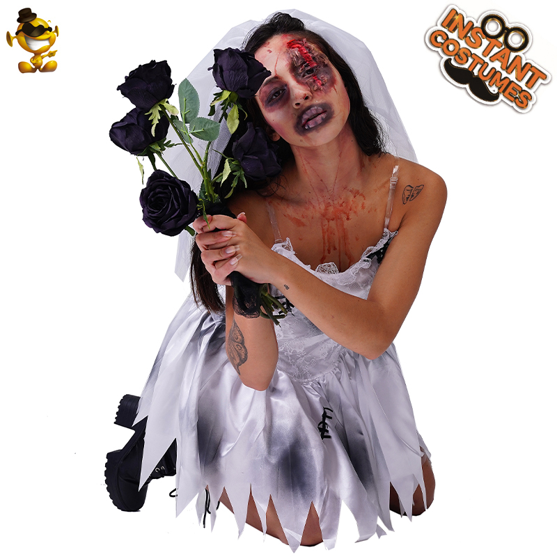 Halloween Cosplay Ghost Bride Costume Adult Outfits Women Dress Up Zombie Bride Suits Short Dress And Headpiece