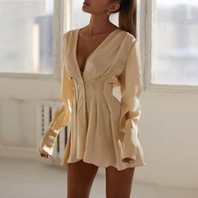 купить Women Plunge V-Neck Pleated Stain Elegant Dress Casual Holiday Beach Fall Sexy Vestido Wrap Tunic Slim Shirt Dress онлайн