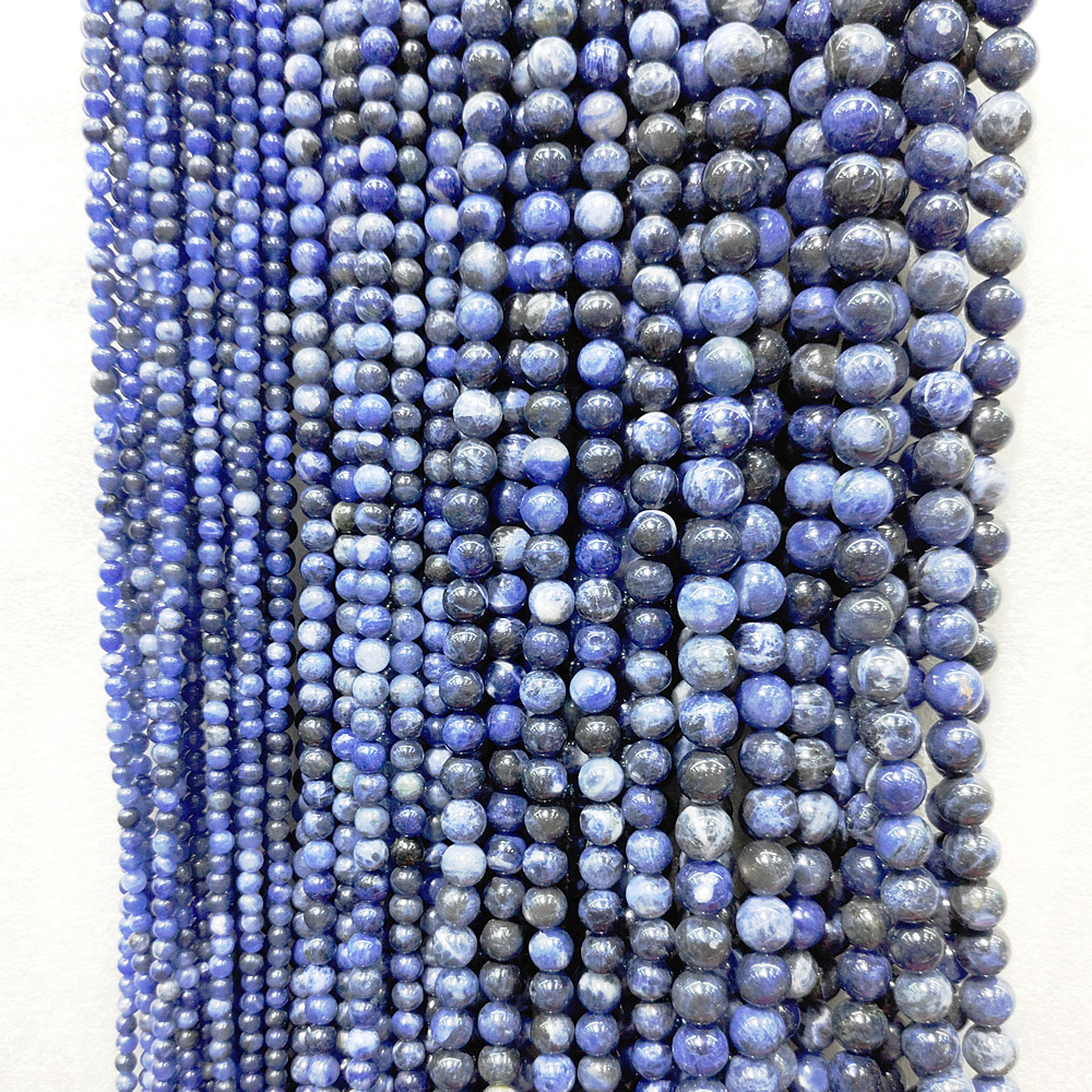 Natural Brazilian Blue Ribbon Beads Semi-finished Brazilian Blue Beads Semi-precious Stones Handmade Necklace DIY Bracelet 39cm