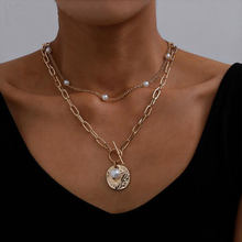 Vintage Pearl Chain Necklace Multilayer Coin Choker Necklace For Women Gold Chunky Pendant Necklaces 2021 Trend Female Jewelry