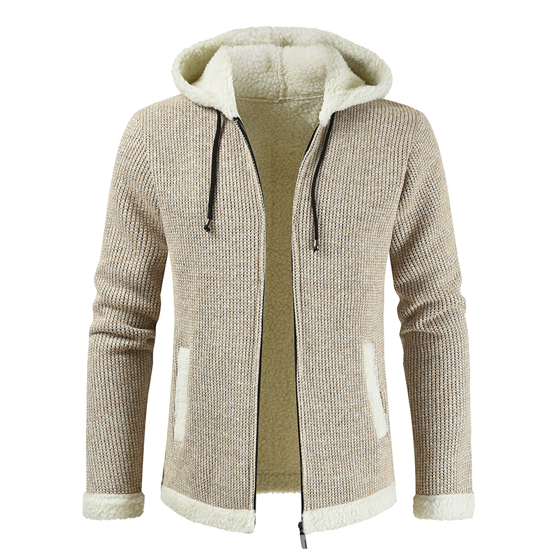 Hooded Sweater Men Solid Color Cardigan Men Casual Winter Clothes