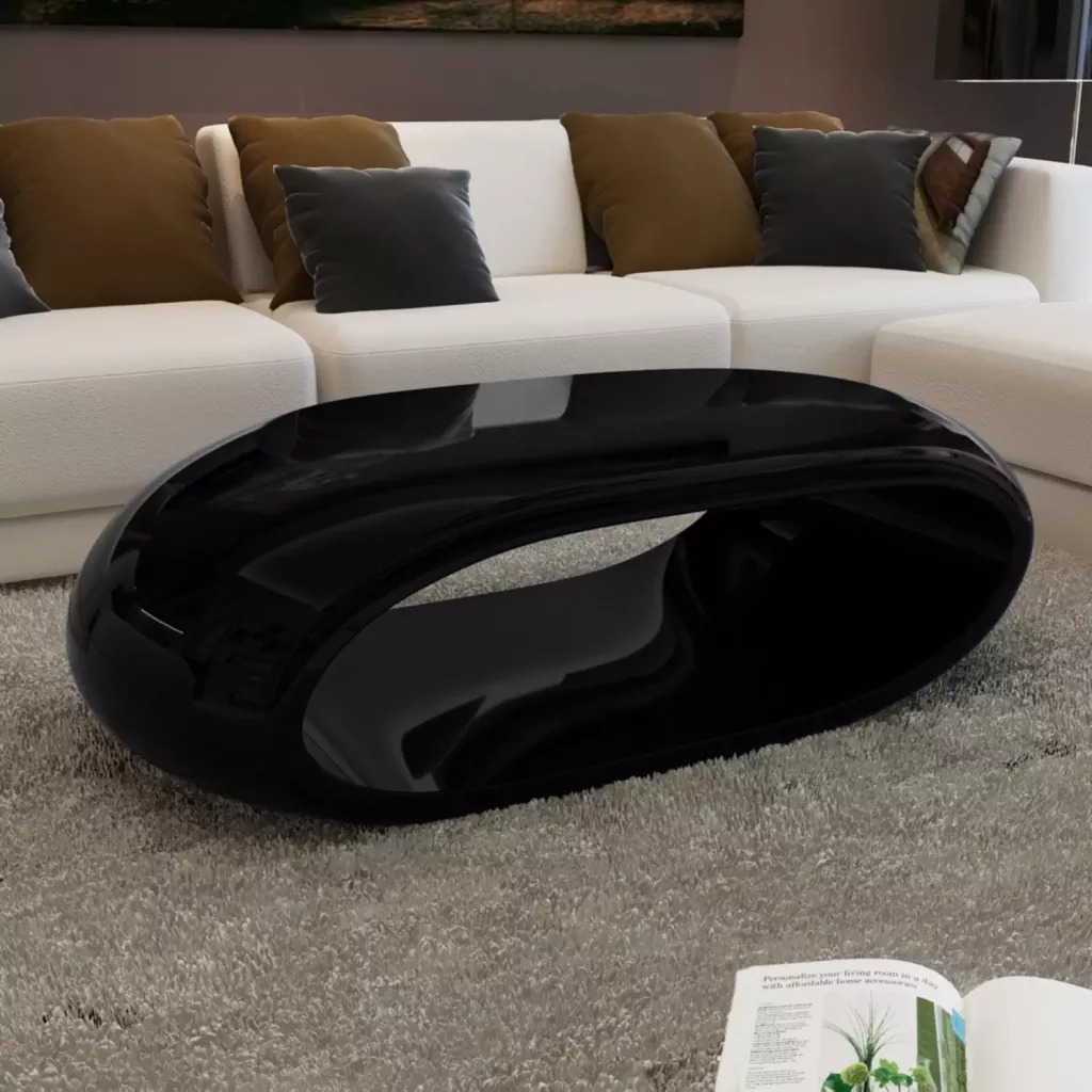 VidaXL Coffee Table Fibre Glass High Gloss Black 240411