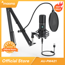 MAONO PM421 USB Microphone 192KHZ/24BIT Professional Cardioid Condenser Podcast Mic with One Touch Mute and Mic Gain Knob