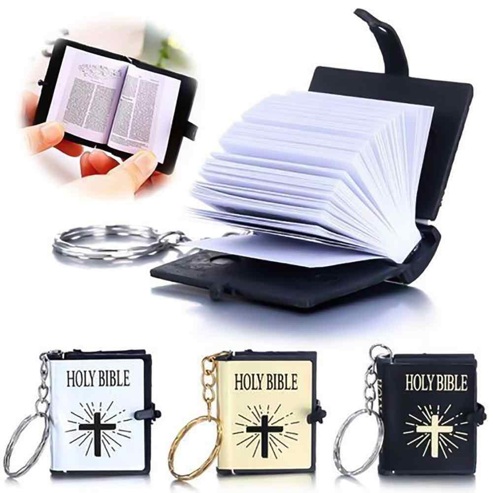 BLUELANS 1Pc Fashion Mini Bible Charm Keychain Portable Simulation HOLY BIBLE trinket Keyrings Bag Decoration