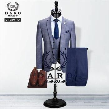 2020 دارومو الرجال دعوى نمط جديد السترة سترة 3 قطعة أزرق رمادي سليم صالح بدلة على الموضة الأعمال عارضة خياط-صنع 1