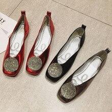 Chaussures en cristal pour femmes, chaussures à enfiler de Ballet peu profondes pour femmes, chaussures plates printemps automne 2020