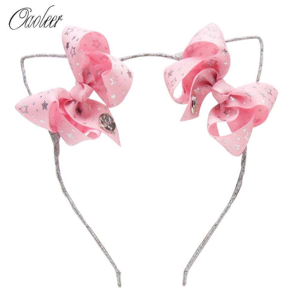 Oaoleer Hair Accessories Ears Headband for Girls Unicorn Print Ribbon Double Hairbows Hairband Handmade Kids Head Hoop with
