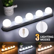 Светодиодная лампа присоска для зеркала макияжа 5 лампочек