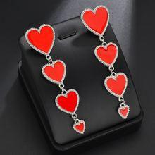 Женские серьги с подвеской в форме сердца длинные кисточки стиле