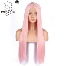 ZM High Temperature Fiber 24inch Cheap Long Pink Lace Front Wigs Synthetic Hair