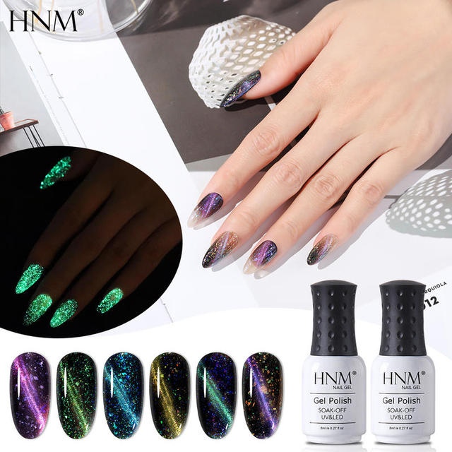HNM 8ML Fluorescent 3D Cat Eye Gel Nail Polish UV LED Soak Off Fluorescent Varnish Primer Long Lasting Glow In Dark Gel Polish