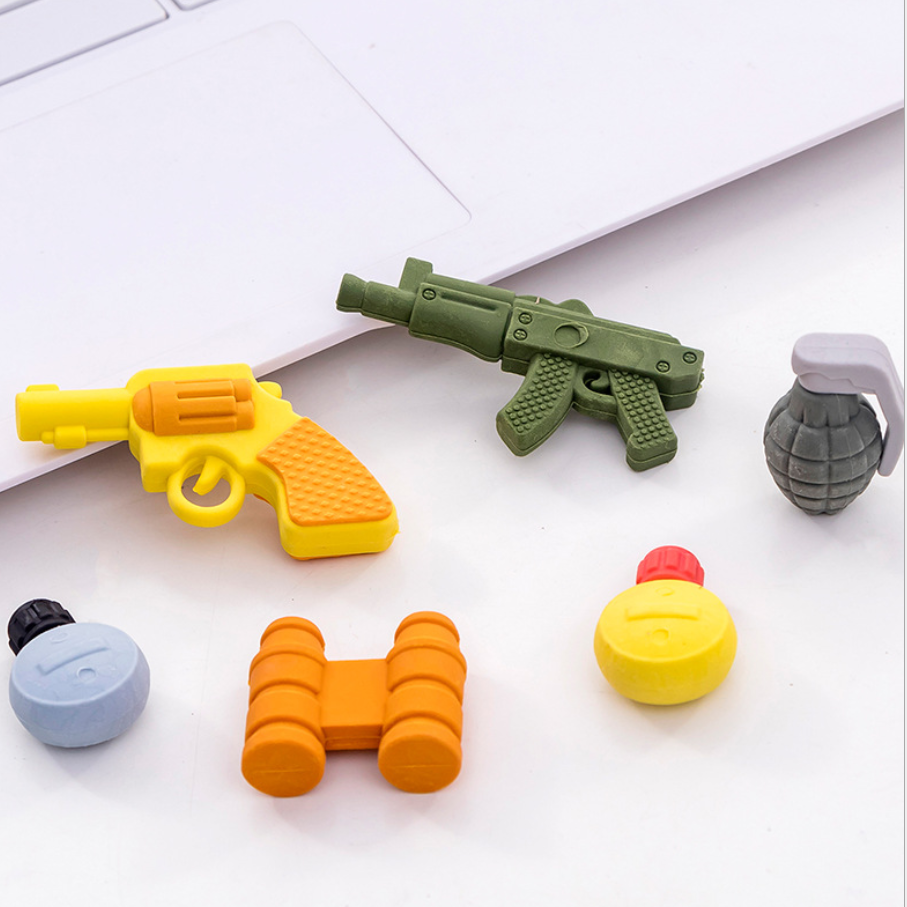 Cute Gun Telescope Weapon Toys Pens Eraser Kawaii Pencil Erasers For Kids Rubber Stationery School Supplies Student Prizes Gifts