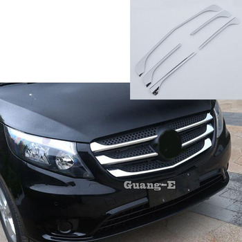 High Quality For Mercedes Benz Vito W447 2017 2018 2019 Cover ABS Chrome Racing Engine Trim Front Up Grid Grill Grille Hoods
