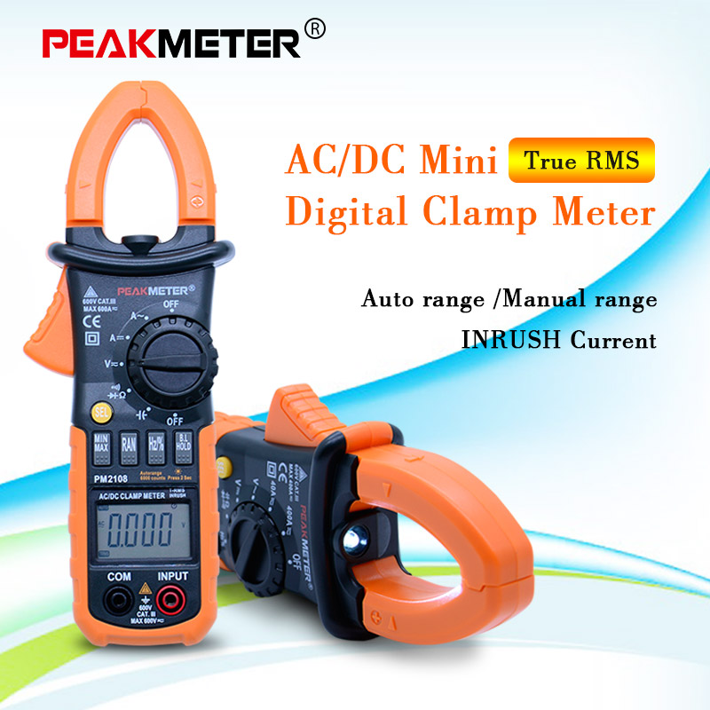 PEAKMETER PM2108A/<font><b>PM2108</b></font> Digital clamp meter ac dc Mini multimeter true rms with auto power off function image