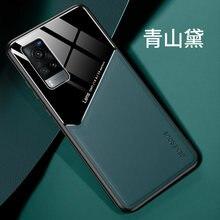 Telefon etui na Vivo X60 przypadku Pu skóra TPU rama zbudowana-w żelazo tylna pokrywa dla Vivo X60 Pro X 60 przypadków powłoki
