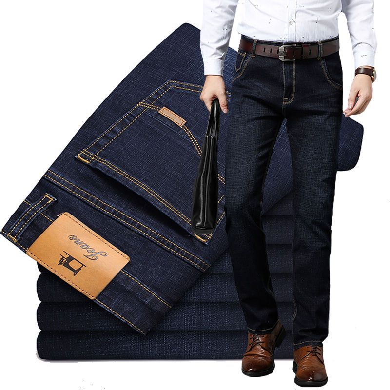 Spring New Men's Trousers Men's Jeans Men's Loose-fitting Straight Leg Casual Men's Trousers Stretch Long Trousers