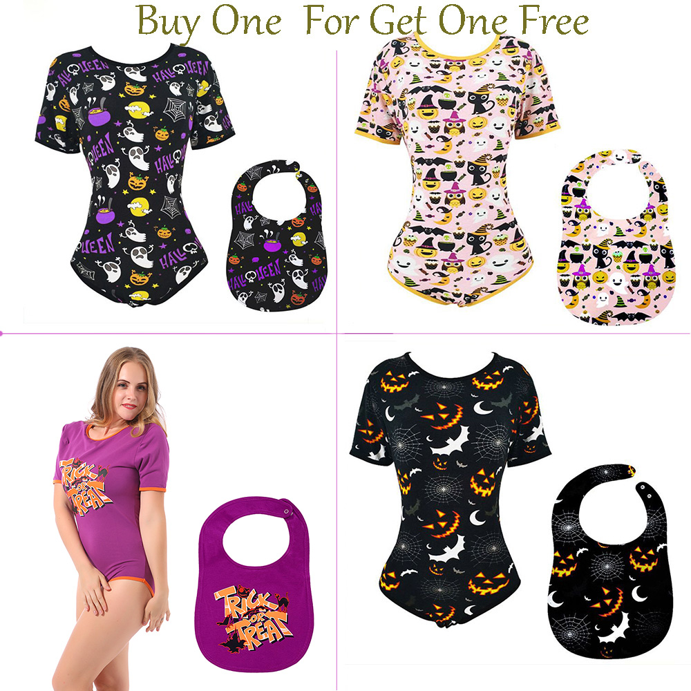 Adult Baby Onesies - ABDL Halloween Pattern Romper Ddlg Adult Size Onesies For Adult Baby Girl