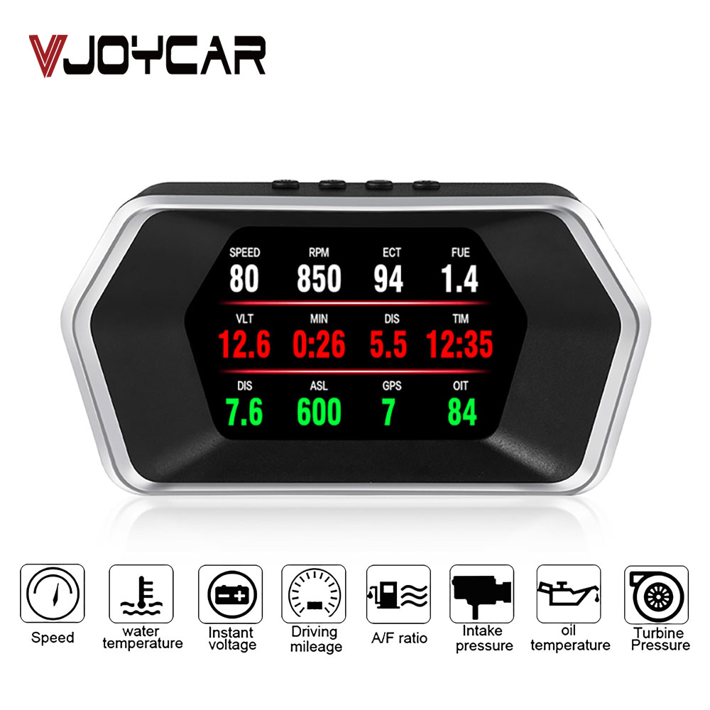 Newest Head Up Display OBD Car Electronics HUD Display P17 OBD2 GPS Dual Mode GPS Speedometer Clear Faulty Code PK C1 RPM Temp